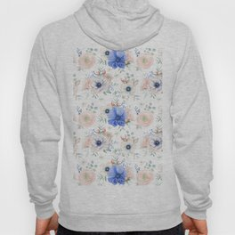 Blue + Pink Garden Floral Hoody