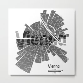 Vienna Map Metal Print