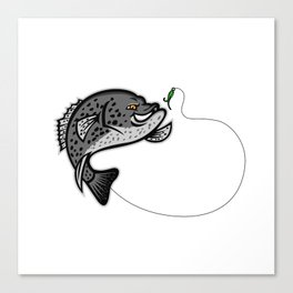 Crappie Jumping For A Bait Mascot Canvas Print