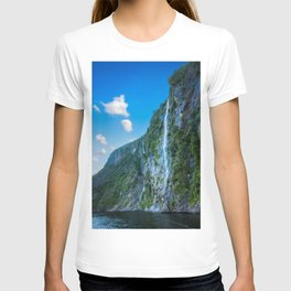 One of the numerous waterfalls falling down the sheer cliffs at Milford Sound. T-shirt