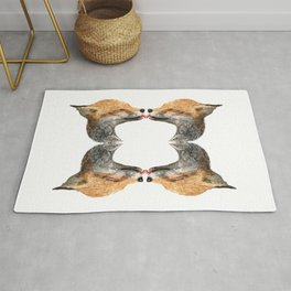 kissing foxes Rug