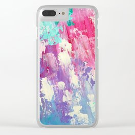 Pink and Blue Abstract Clear iPhone Case