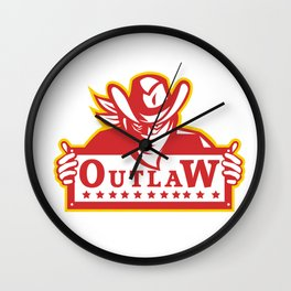 Outlaw Holding Sign Retro Wall Clock