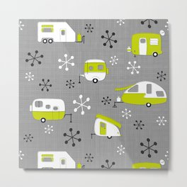Lime Campers on Charcoal Metal Print
