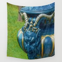 devil Wall Tapestries featuring Blue Devil by Lucia