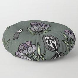 ghostface w knife ~green tones Floor Pillow