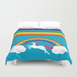 Unicorn Rainbow in the Sky Duvet Cover