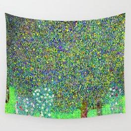 Gustav Klimt Rosebushes Under Trees Wall Tapestry