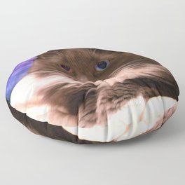 Galactic Mustache Cat Floor Pillow