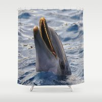 dolphin Shower Curtains featuring dolphin by LaiaDivolsPhotography