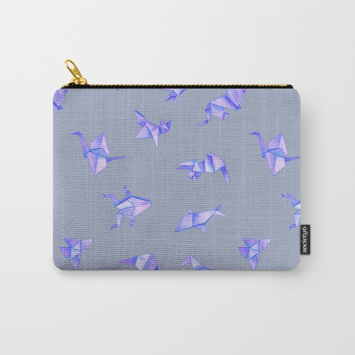 Origami on Grey Carry-All Pouch