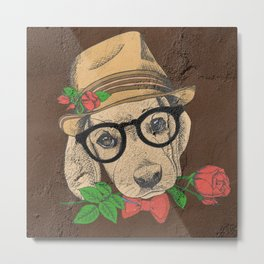 Cute Hipster Pup Metal Print