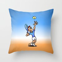 tennis Throw Pillows featuring Tennis by Cardvibes.com - Tekenaartje.nl