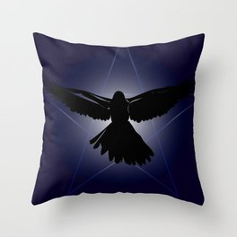 Black raven in the star shine. Throw Pillow