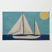 nursery Area & Throw Rugs featuring Nursery Sailboat by Melanie Russo