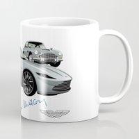 james bond Mugs featuring James Bond Aston Martin DB10 from Spectre by car2oonz