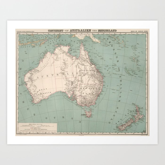 Vintage Topographic Map of Australia (1868) Art Print by ...