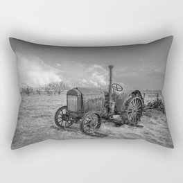 Rustic Tractor - Old Tractor in Black and White Rectangular Pillow