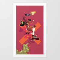 Gun Totting Girl Art Print