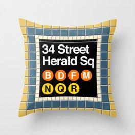 subway herald square sign Throw Pillow