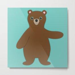 Forest Bear Nursery Set Metal Print