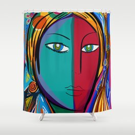 Pop Expressionist Art Portrait Shower Curtain