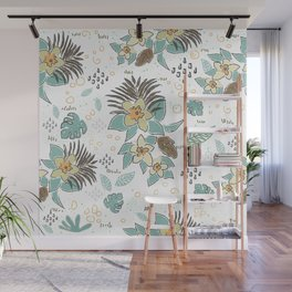 Seamless Pattern with small Flowers. Scandinavian Style Wall Mural
