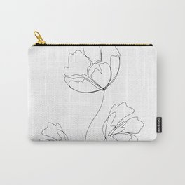 Poppies Minimal Line Art Carry-All Pouch