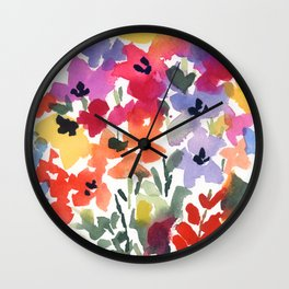 Bright Wildflower Field Wall Clock