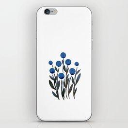 Simple watercolor flowers - midnight blue iPhone Skin