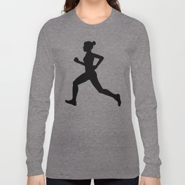 Running Girl B&W Pattern Long Sleeve T-shirt