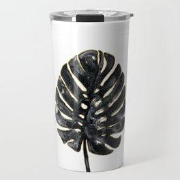Black and gold Monstera Travel Mug