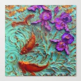 DIMENSIONAL PURPLE IRIS FLOWERS & GOLDEN KOI FISH Canvas Print