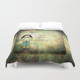 A Cup of Coffee Solves Everything Duvet Cover
