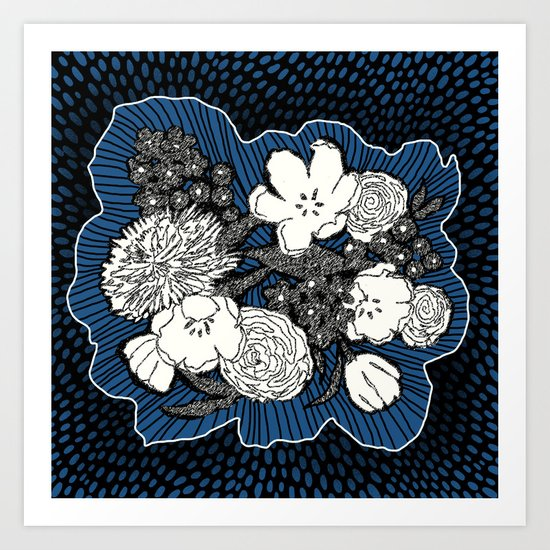 Placed Floral: Cobalt Combo Art Print