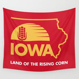 Iowa: Land of the Rising Corn - Red and Gold Edition Wall Tapestry