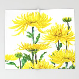 Yellow Chrysanthemums Throw Blanket