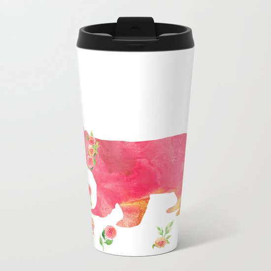 Bear with flowers - Animals Watercolor illustration Metal Travel Mug