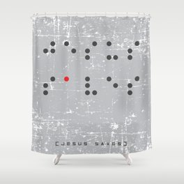 Jesus Saves Braille Shower Curtain