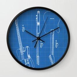 Electric Guitar Patent - Guitar Player Art - Blueprint Wall Clock