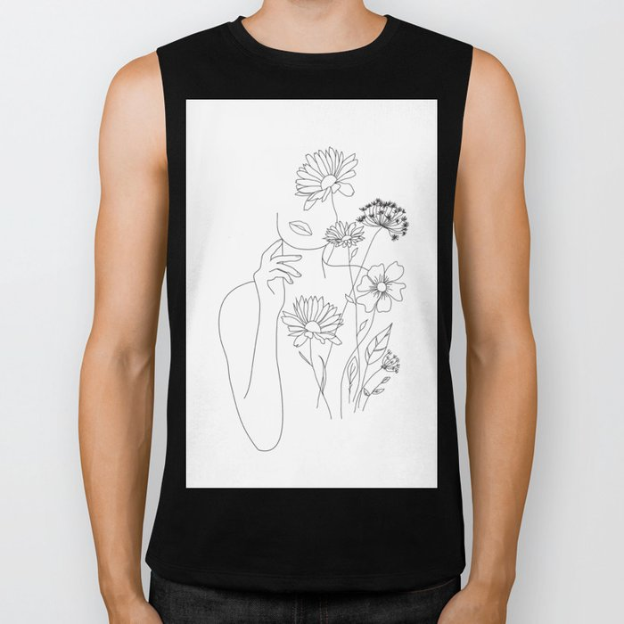 Minimal Line Art Woman with Flowers III Biker Tank