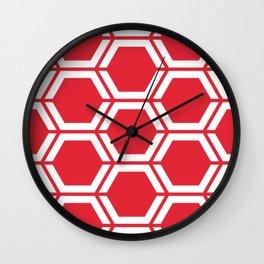 Rose madder - red - Geometric Polygon Pattern Wall Clock