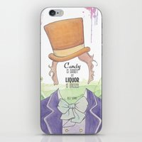 willy wonka iPhone & iPod Skins featuring Wonka by Mon Chaton