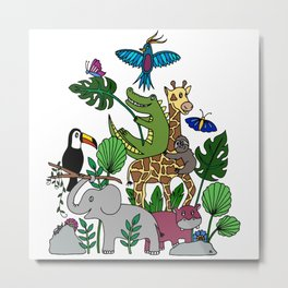 Jungle Animals Pileup Metal Print