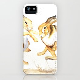 boxing hares iPhone Case