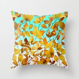 Autumn Leaves Azure Sky Throw Pillow