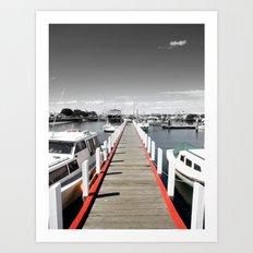 Follow the red Line Art Print