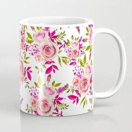 Elegant pink coral green watercolor roses pattern Coffee Mug
