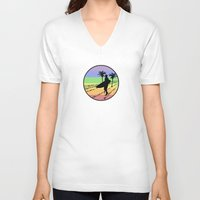 surfing V-neck T-shirts featuring surfing by Paul Simms