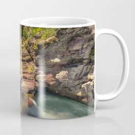 USA St Mary Falls Glacier National Park Montana Rock Nature Waterfalls park Crag Cliff Parks Coffee Mug